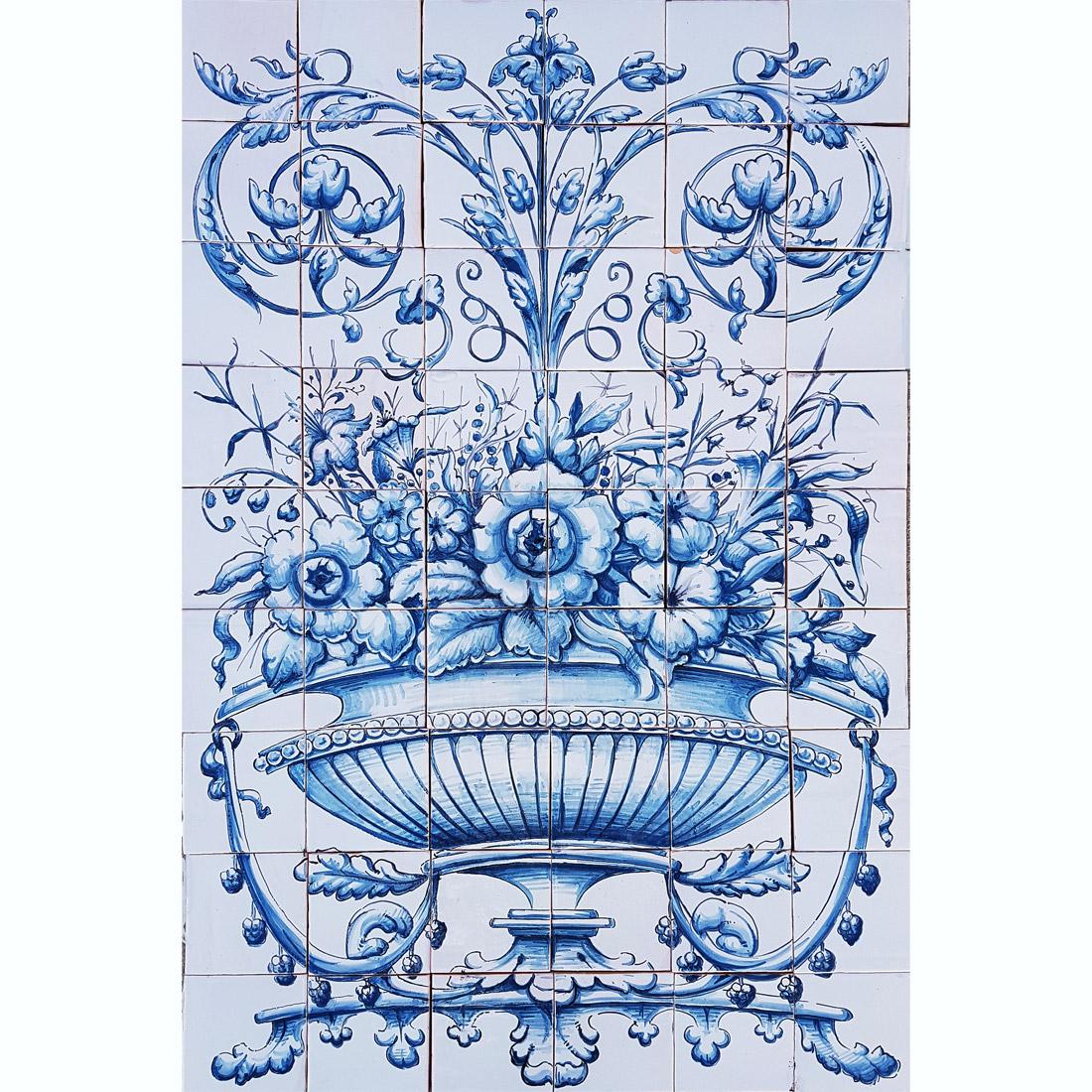 Mural canasto flores cefoarte - Murales de azulejos ...
