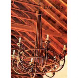 Lampara-techo-forja-6-luces-vastago-alto